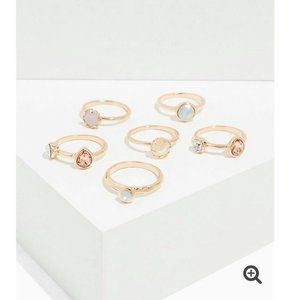 GOLD-TONE FAUX MOON STONE RING SET OF 6